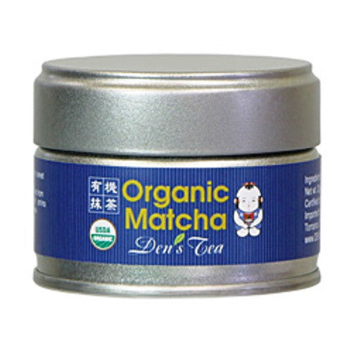 Organic Matcha Japanese Green Tea in a silver tin with a blue label