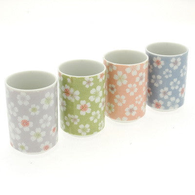 4 Japanese Sakura tea cups, gray, green, pink, and blue
