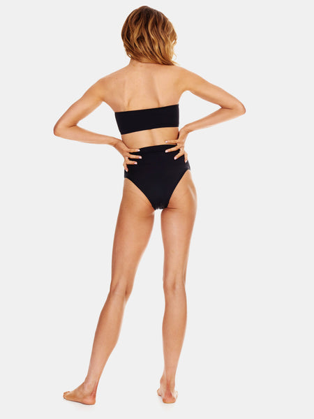 Black high waisted high leg bikini bottoms by RH Swimwear