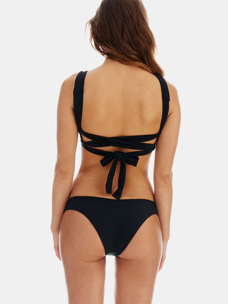 Ties bikini in black recycled fabric by RH Swimwear