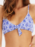 Centre tie bikini top in Ditsy floral blue by RH Swimwear
