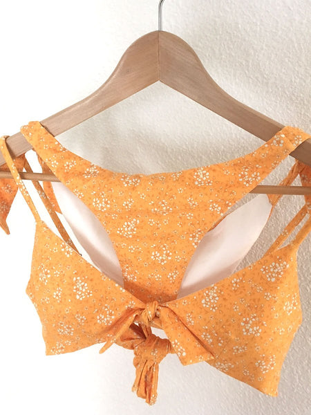 Centre tie bikini top in Ditsy floral marigold - on hanger