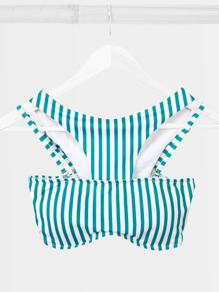 Green retro stripe bikini by RH Swimwear