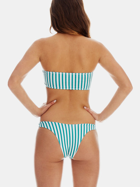 Bandeau bikini in Green retro stripe by RH Swimwear