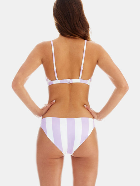 Low riser bikini bottoms in Lavender wide stripe