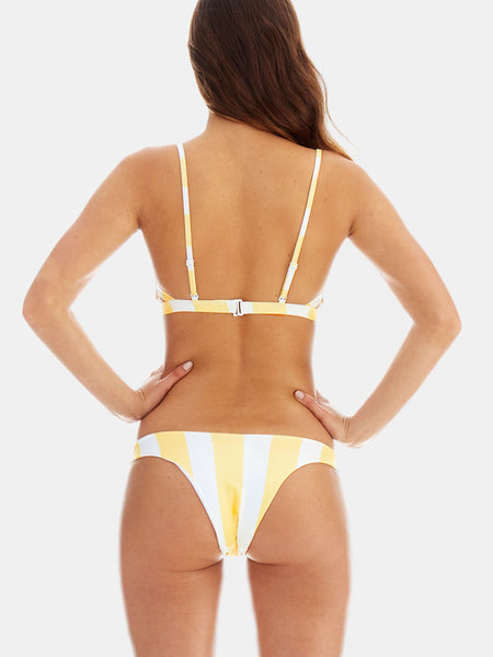 Cheeky high leg bikini bottoms in Yellow wide stripe
