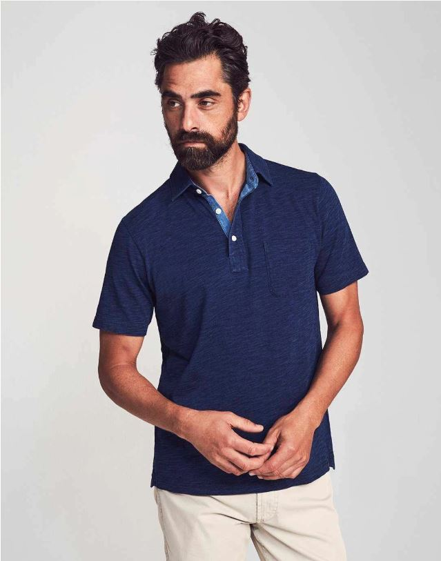 Short Sleeve Indigo Polo