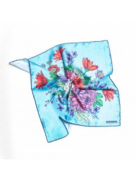 Blue Floral Pocket Square