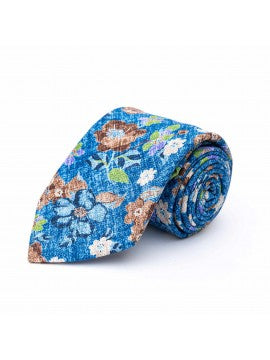 Blue | Brown Floral Tie