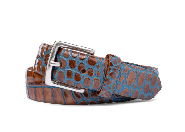 Two-Toned Embossed Crocodile Belt with Antique Silver Buckle