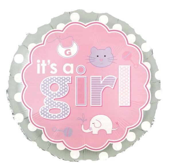It's A Girl Balloon - Pink & Grey.