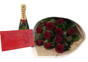 1 Dozen Roses, Moet and Hand-Made Chocolates
