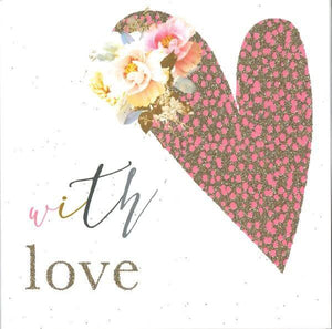 With love Pink Heart Card