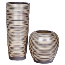 CU2G1-  Chinese Ceramic Urns - set of two - ribbed chocolate