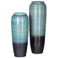 CU2BB1 -Chinese Ceramic Urns -  set of two -ribbed blue and black