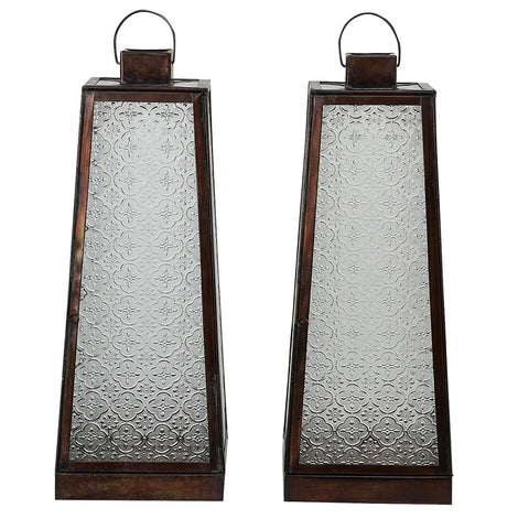 IBPLPM Brushed Bronze Embossed Glass Lantern