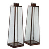 IBPLL  Brushed bronze and Glass Hurricane Lamps set of three