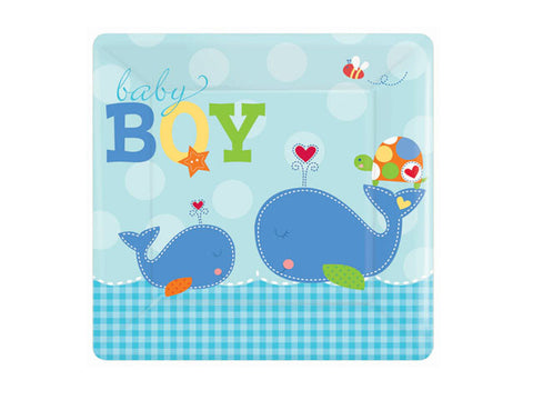 Ahoy Baby Boy Shower 10-inch paper plates (8 ct)