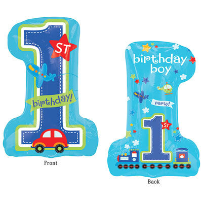 1 All Aboard 1st Bithday Boy Foil Balloon