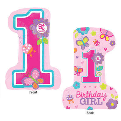 1 Sweet Garden 1st Bithday Girl Foil Balloon