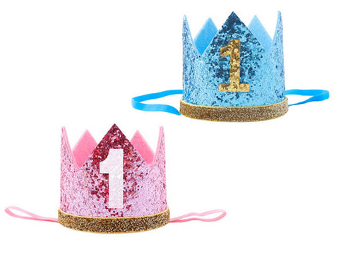 1st Birthday Glitter Crown Hat (click for colors)
