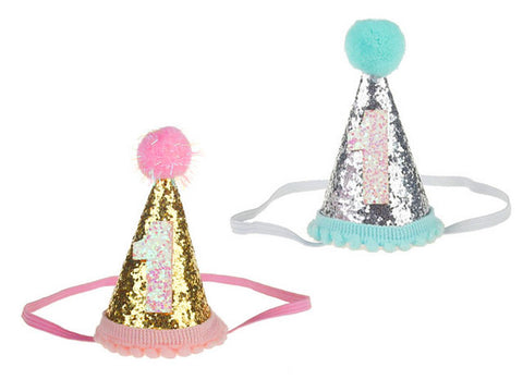 1st Birthday Glitter Cone Hat (click for colors)