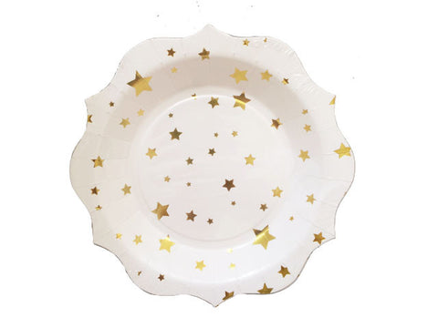 Gold Stars 7-inch paper plates (6 ct)
