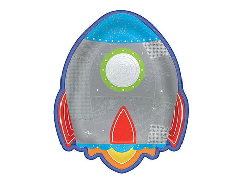 Blast Off Birthday 7-inch paper plates (8 ct)