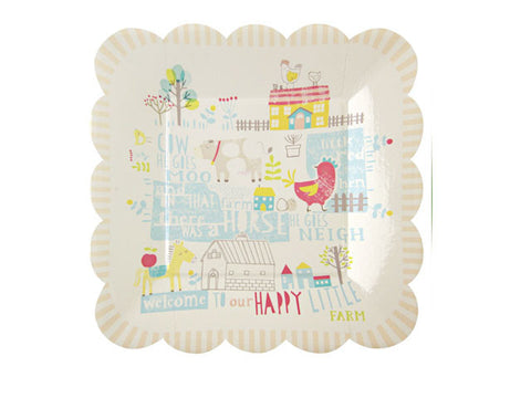 Happy Little Farm 8-inch paper plates (12 ct)