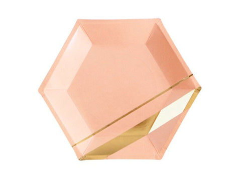 Hexagon Gold Striped 9-inch paper plates (8 ct)