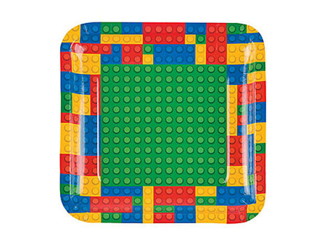 Blocks Party 9-inch paper plates (8 ct)