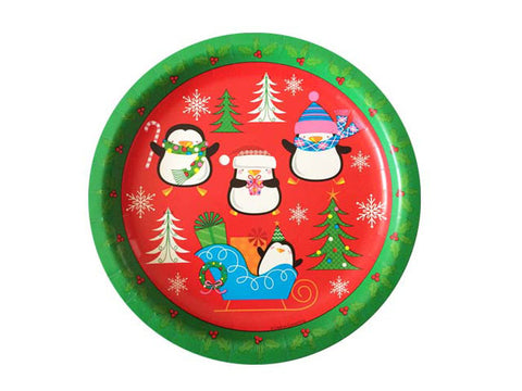 Holiday Penguins 9-inch paper plates (8 ct)