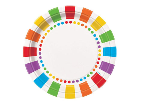Rainbow Party 9-inch paper plates (8 ct)