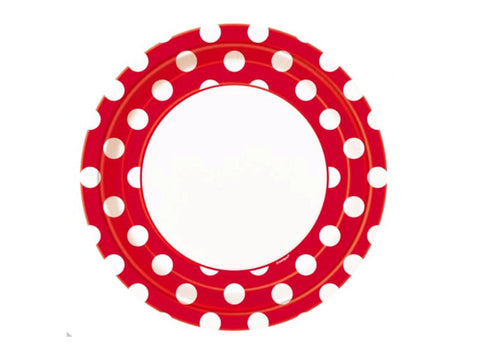 Red Polka Dots 9-inch paper plates (8 ct)