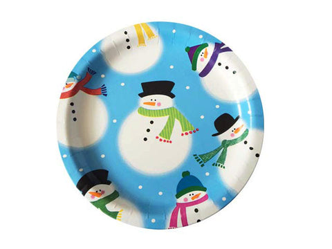 Snowman 9-inch paper plates (8 ct)