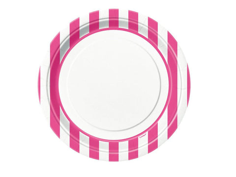 Candy Pink Stripes 9-inch paper plates (8 ct)