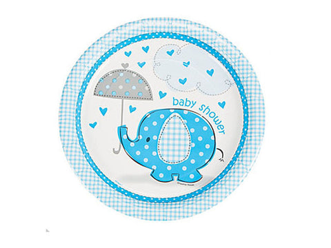 Umbrellaphants Blue Baby Shower 9-inch paper plates (8 ct)