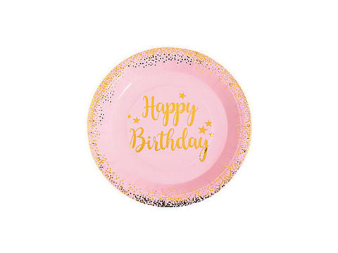 Pink and Gold Foil Confetti Birthday 9-inch paper plates (8 ct)