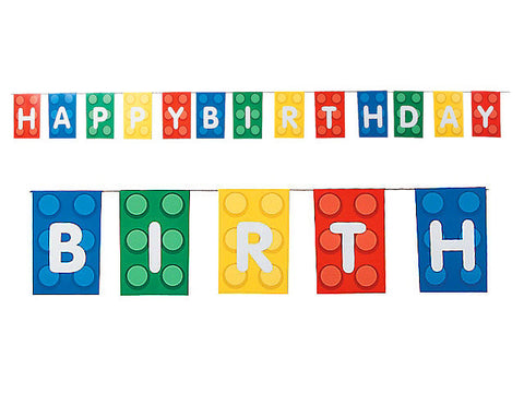 Blocks Party Birthday Pennant Banner