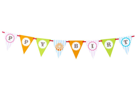 Candy Shoppe Birthday Pennant Banner