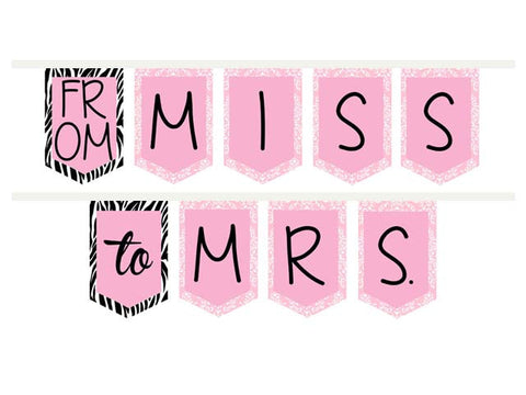 From Miss to Mrs. Bridal Shower ribbon banner