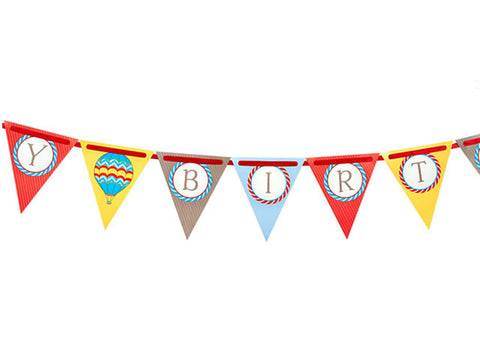 Up Up Away Birthday Pennant Banner