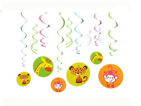 Fisher Price Jungle Animals Baby Shower Hanging Swirl Decorations