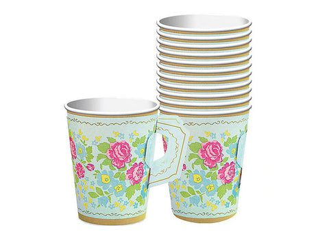 Floral Tea Party Paper Cups with Handles(8 ct)