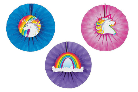 Rainbow Unicorn Party Hanging Fans