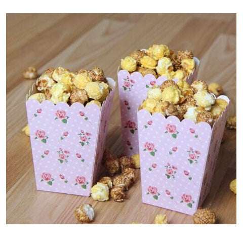 Pink Floral Mini Popcorn Boxes