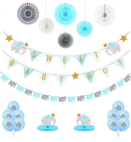 Sweet Baby Elephant Blue Decorating Kit