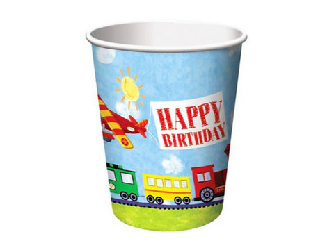 Transportation Birthday Paper Cups (8 ct)