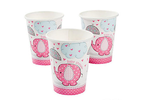 Umbrellaphants Pink Baby Shower Paper Cups (8 ct)