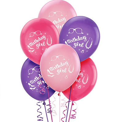 Birthday Girl Latex Balloons